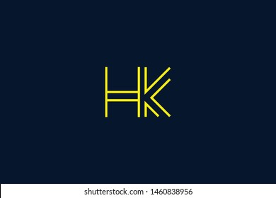 Initial based clean and minimal Logo. HK KH K H letter creative monochrome monogram icon symbol. Universal elegant luxury alphabet vector design