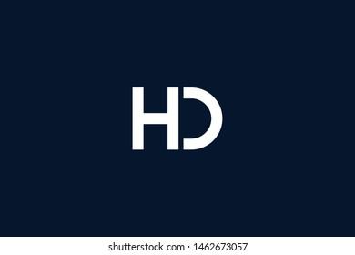 Initial based clean and minimal Logo. DH HD H D letter creative monochrome monogram icon symbol. Universal elegant luxury alphabet vector design
