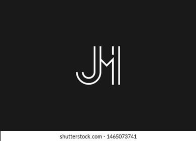 Initial based clean and minimal Logo. JM MJ J M letter creative monochrome monogram icon symbol. Universal elegant luxury alphabet vector design