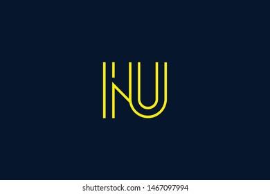 Initial based clean and minimal Logo. NU UN N U letter creative monochrome monogram icon symbol. Universal elegant luxury alphabet vector design