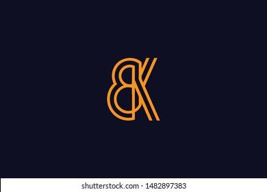 Initial based clean and minimal Logo. BK KB B K letter creative monochrome monogram icon symbol. Universal elegant luxury alphabet vector design