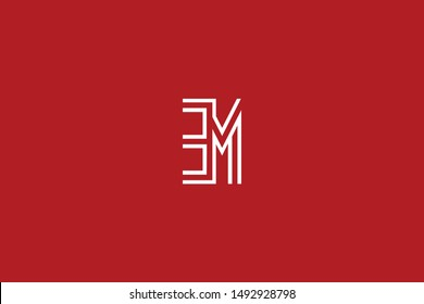 Initial based clean and minimal Logo. EM ME E M letter creative monochrome monogram icon symbol. Universal elegant luxury alphabet vector design