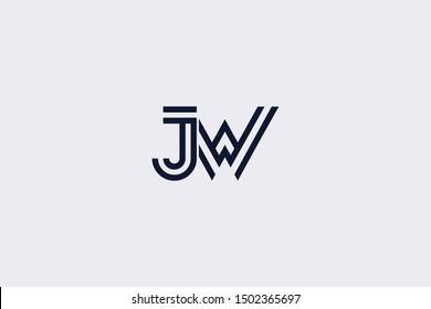 Initial based clean and minimal Logo. JW WJ J W letter creative fonts monogram icon symbol. Universal elegant luxury alphabet vector design