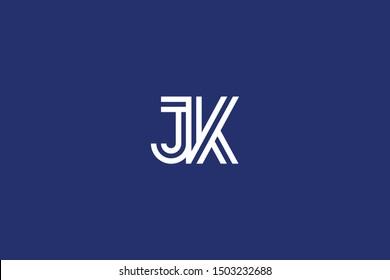 Initial based clean and minimal Logo. JK KJ J K letter creative fonts monogram icon symbol. Universal elegant luxury alphabet vector design