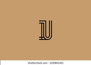 Initial based clean and minimal Logo. IU UI U letter creative fonts monogram icon symbol. Universal elegant luxury alphabet vector design