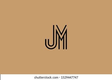 Initial based clean and minimal Logo. JM MJ J M letter creative fonts monogram icon symbol. Universal elegant luxury alphabet vector design