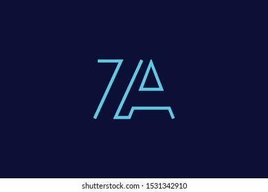 Initial based clean and minimal Logo. AZ ZA Z letter creative fonts monogram icon symbol. Universal elegant luxury alphabet vector design