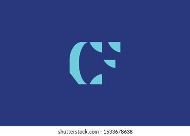 Initial based clean and minimal Logo. CF FC C F letter creative fonts monogram icon symbol. Universal elegant luxury alphabet vector design