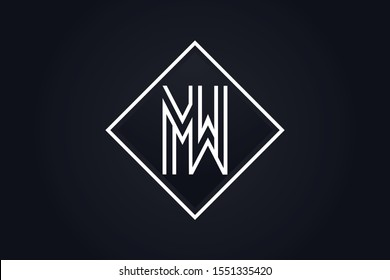 Initial based clean and minimal Logo. MW WM M W letter creative fonts monogram icon symbol. Universal elegant luxury alphabet vector design