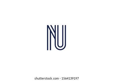 Initial based clean and minimal Logo. NU UN N U letter creative fonts monogram icon symbol. Universal elegant luxury alphabet vector design