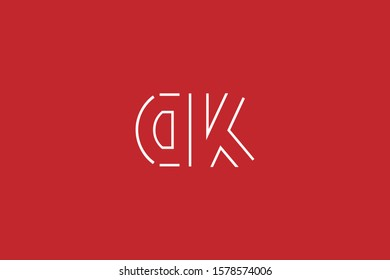 Initial based minimal and flat Logo. DK KD D K letter creative fonts monogram symbol template. Line art elegant luxury alphabet icon design