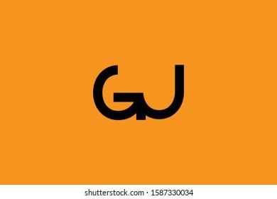 Initial based minimal and flat Logo icon. GJ JG G J letter creative fonts monogram symbol template. Line art elegant luxury alphabet design.