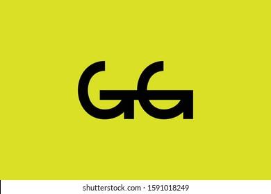Initial based minimal and flat Logo icon. GG letter creative fonts monogram symbol template. Line art elegant luxury alphabet design