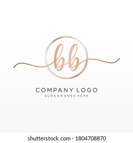 Initial BB beauty monogram and elegant logo design, handwriting logo of initial signature, wedding, fashion, floral and botanical with creative template.