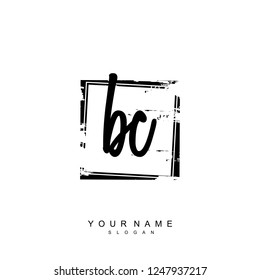 Initial BC handwriting logo vector