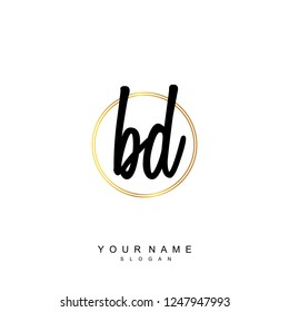Initial BD handwriting logo vector