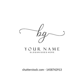 Initial BG beauty monogram and elegant logo design, handwriting logo of initial signature, wedding, fashion, floral and botanical with creative template.