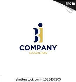 Initial BI Logo monogram design template. Simple shape elegant style modern logo.