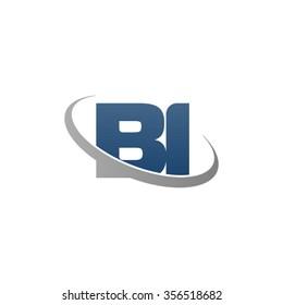 initial BI swoosh ring company logo blue gray