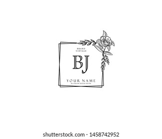 Initial BJ beauty monogram and elegant logo design, handwriting logo of initial signature, wedding, fashion, floral and botanical with creative template.