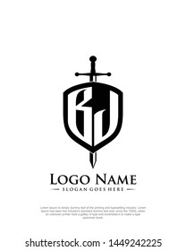 initial BJ letter with shield style logo template vector