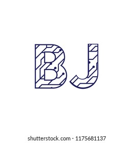 Initial BJ with technology logo concepts template vector