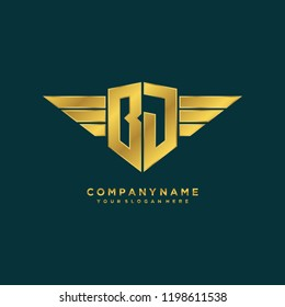Initial BJ wing logo template vector