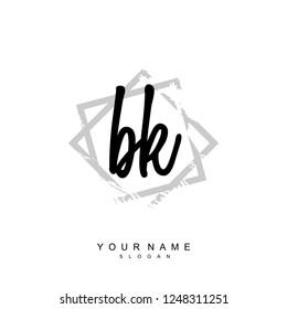 Initial BK handwriting logo vector