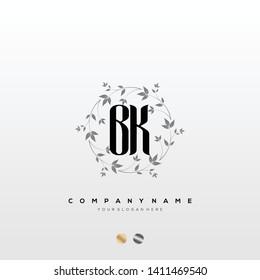Initial BK letter luxury beauty flourishes ornament monogram logo - Vector