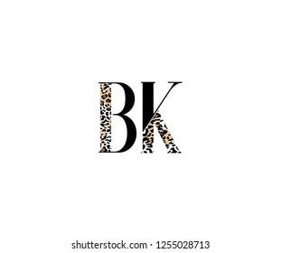 Initial BK Letter with Luxury Leopard Pattern Logotype