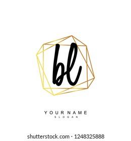Initial BL handwriting logo vector