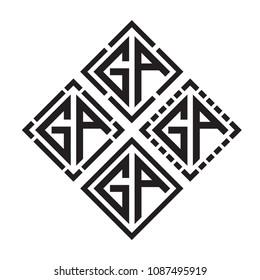 Initial Black letters GA in square shape monogram logo