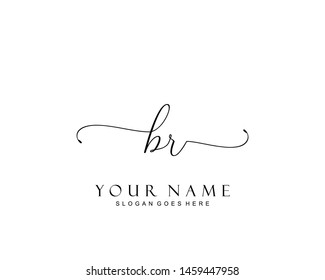 Initial BR beauty monogram and elegant logo design, handwriting logo of initial signature, wedding, fashion, floral and botanical with creative template.