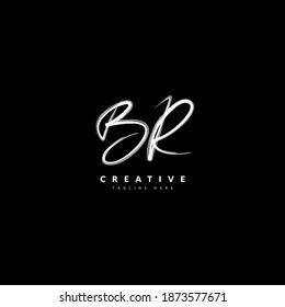 Initial BR handwritten signature logotype. Typography for company and business logo. Vector logo design.