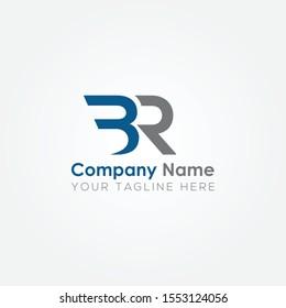 Initial BR Letter logo vector template design. Linked Letter BR Logo design.