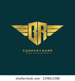 Initial BR wing logo template vector
