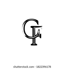 Initial Brush style Letter CF Logo Monogram in Black and White.