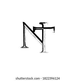 Initial Brush style Letter NT Logo Monogram in Black and White.