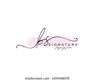 Initial BS beauty monogram and elegant logo design, handwriting logo of initial signature, wedding, fashion, floral and botanical with creative template.
