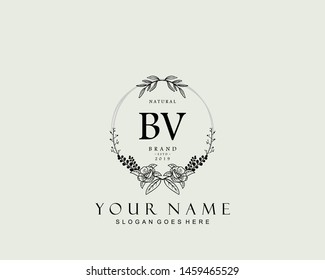 Initial BV beauty monogram and elegant logo design, handwriting logo of initial signature, wedding, fashion, floral and botanical with creative template.