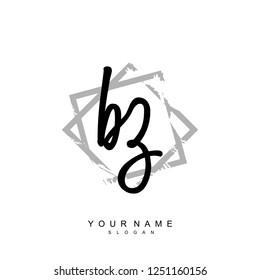 Initial BZ handwriting logo vector