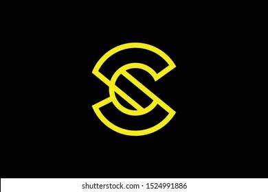 Initial C CC CS SC modern monogram and elegant logo design, Professional Letters Vector Icon Logo on black background.