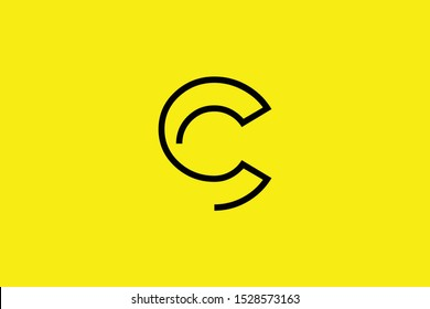 Initial C CC modern monogram and elegant logo design, Professional Letters Vector Icon Logo on black background.