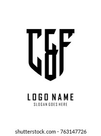 Initial C & F abstract shield logo template vector