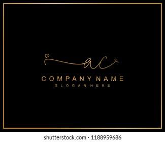 Initial A C handwriting logo template vector