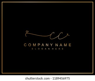 Initial C C handwriting logo template vector