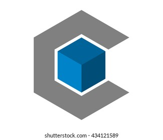 initial C hexagon blue cube image vector icon logo