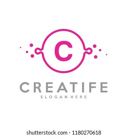 Initial C logo concepts template vector