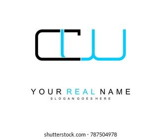 Initial C & W minimalist logo template vector