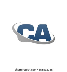 initial CA swoosh ring company logo blue gray